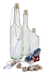 Flaschenpost stehend